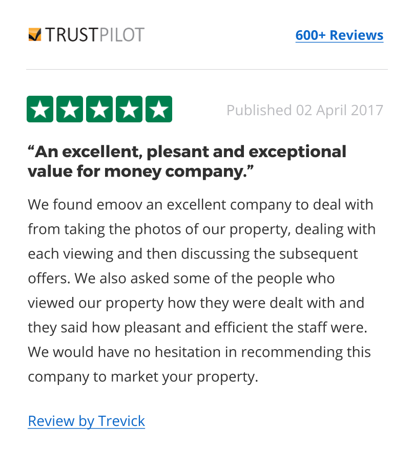 Estate agents reviews from Trust Pilot
