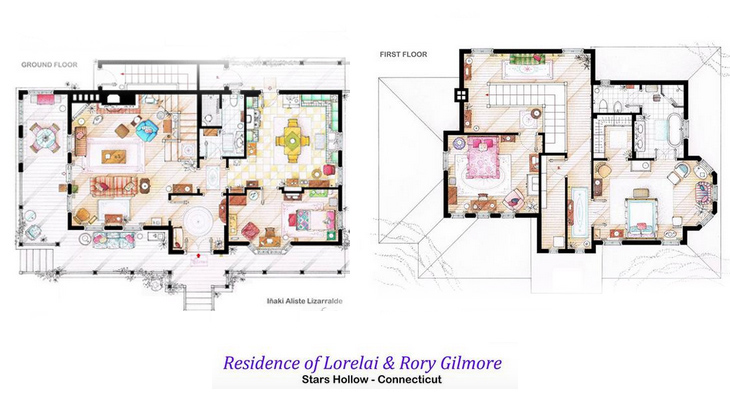 Gilmore Girls House famous tv property floorplans