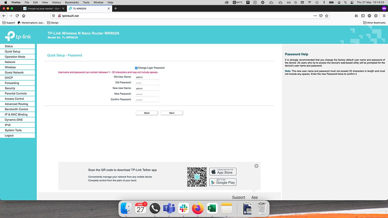 TP-Link interface optioneel