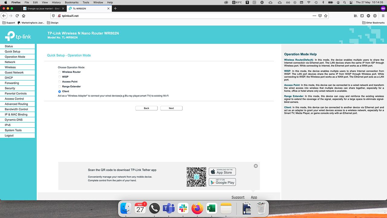 TP-Link interface Client mode