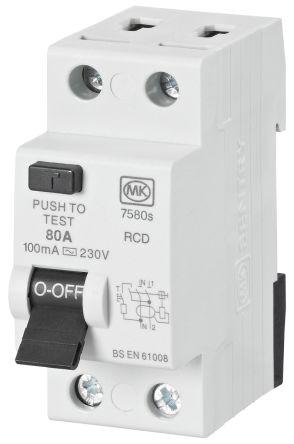 80 A, Instantaneous RCD Switch, Trip Sensitivity 100mA, DIN Rail Mount Sentry 7580S