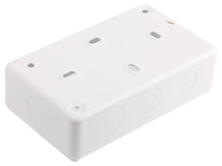 MK Electric Logic Plus White Gloss Urea Formaldehyde/Melamine Back Box, BS Standard, IP20, SURFACE Mount, 2 Gangs
