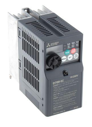 Mitsubishi FR-D720S Inverter Drive 0.4 kW No, 1-Phase In, 230 V ac, 2.5 A, 0.2 → 400Hz Out, ModBus, IP20