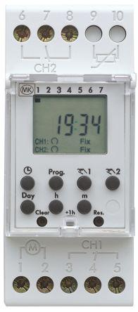 2 Channel Digital DIN Rail Switch Measures Minutes, 220 → 240 V ac
