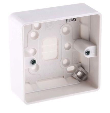 MK Electric Logic Plus White Gloss Urea Formaldehyde/Melamine Back Box, BS Standard, IP20, SURFACE Mount, 1 Gangs