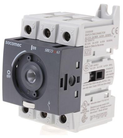 3 Pole DIN Rail Non Fused Isolator Switch, NO/3NC (Auxiliary), 63 A, 30 kW