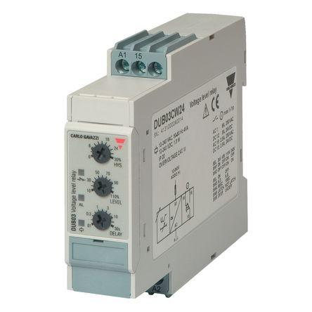 DUB03CW24                                              Carlo Gavazzi Volatge Monitoring Relay With SPDT Contacts, 12 → 240 V ac, V dc Supply Voltage, 1 Phase,