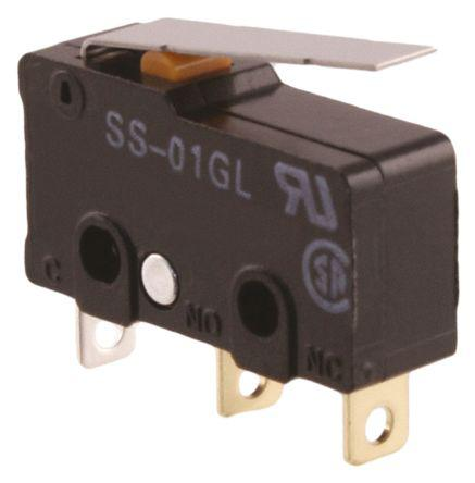 SPDT-NO/NC Hinge Lever Microswitch, 100 mA @ 30 V dc
