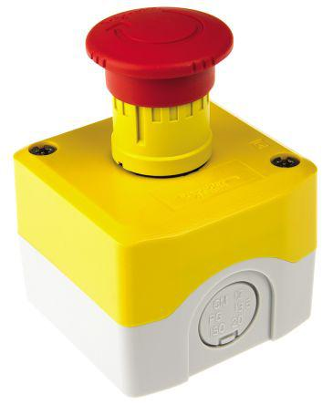 Schneider Electric Harmony Emergency Button, Twist to Reset, Yellow 40mm Mushroom Head