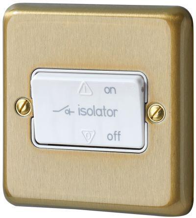 K4860SAG                                              Gold 10 A Flush Mount 3-Pole Fan Isolator Light Switch Screwed Satin BS Standard, 240 V ac 86mm 1 3, Albany Plus Screw