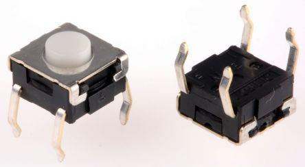 Plunger Tact Switch, SPST-NO 0.05 A@ 24 V dc 0.9mm
