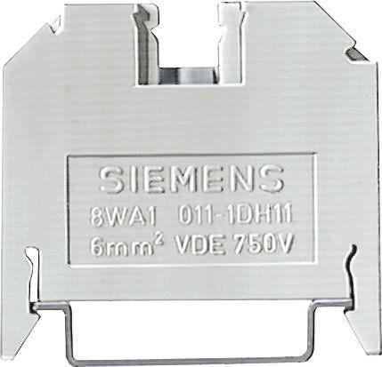 Siemens Standard DIN Rail Terminal, 8WA Series , 6mm², 800 V, 41A, Screw Down Termination, Brown, Single Level