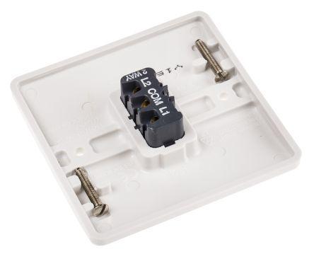 White 10 A Flush Mount Plate Light Switch MK White 7 mm, 2 Way Screwed Semi Gloss, 1 Gang BS Standard, 250 V ac 86mm
