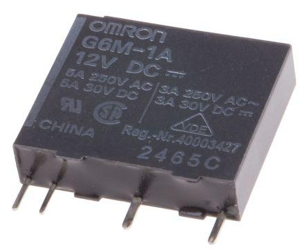 Omron SPNO Non-Latching Relay PCB Mount, 12V dc Coil, 8 A