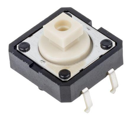 lvory Plunger Tact Switch, SPST-NO 0.05 A@ 24 V dc 3mm