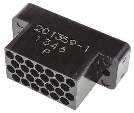 201359-1                                              TE Connectivity M Series 3.3 mm, 3.81 mm Pitch 26 Way 4 Row Straight Housing, Free Hanging, Panel Mount
