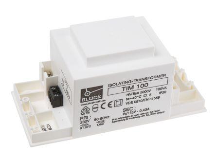 TIM100 Block Transformer 100Va Isolating