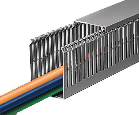 Slotted Grey Panel Trunking Duct with open slots Narrow slots.