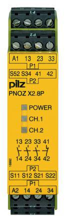 PNOZ X Safety Relay, Dual Channel, 24 V ac/dc, 3 Safety, 1 Auxiliary
