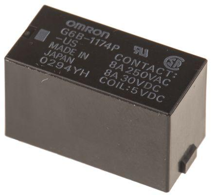 G6B-1174P-US 5DC                                              Omron SPNO PCB Mount Non-Latching Relay, 5V dc Coil, 8 A