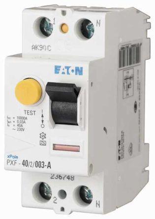 236750 & PXF-40/2/03-A                                              Eaton 1 + N 40 A RCD Switch, Trip Sensitivity 300mA