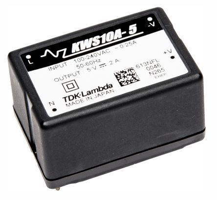 KWS-10A-12                                              TDK-Lambda 10.8W Embedded Switch Mode Power Supply SMPS, 900mA, 12V dc