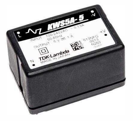 KWS-5A-24                                              TDK-Lambda 5.2W Embedded Switch Mode Power Supply SMPS, 220mA, 24V dc