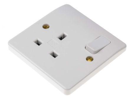 MK Electric MK white 1 Gang Switched Power Socket, Type G - British, 13A, Flush Mount, IP2XD, 2 Poles