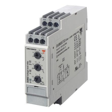 DUB02CT23                                              Carlo Gavazzi Volatge Monitoring Relay With SPDT Contacts, 230 V ac Supply Voltage, 1 Phase, Overvoltage, Undervoltage
