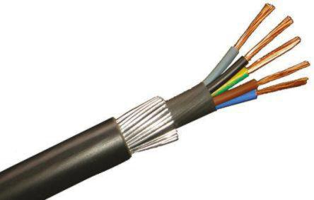 777-0535                                              RS Pro 5 Core Black Armoured Cable with Polyvinyl Chloride PVC Sheath , SWA Galvanised Steel Wire, 35.4 A