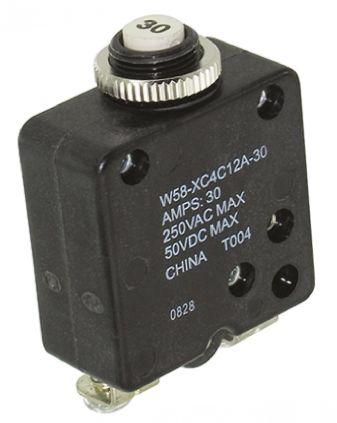W58-XC4C12A-30                                              TE Connectivity 30A 1 Pole Thermal Magnetic Circuit Breaker, 50 V dc, 250 V ac W58