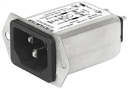 Male C14, C18 IEC Filter Screw,Quick Connect,Rated At 10A,250 V ac Operating Frequency 50 (IEC) Hz, 60 (UL / CSA) Hz