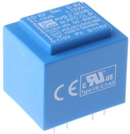 6V ac 2 Output Through Hole PCB Transformer, 2.3VA