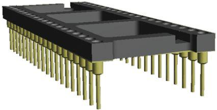 4-1571552-9                                              TE Connectivity Economy 800 2.54mm Pitch Vertical 28 Way, Through Hole Stamped pin Open Frame IC Dip Socket, 3A