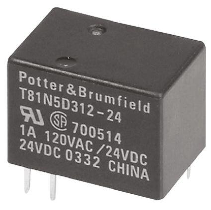 1 piece PC BOARD TE CONNECTIVITY // POTTER /& BRUMFIELD RTB14024F POWER RELAY SPDT 12A 24VDC