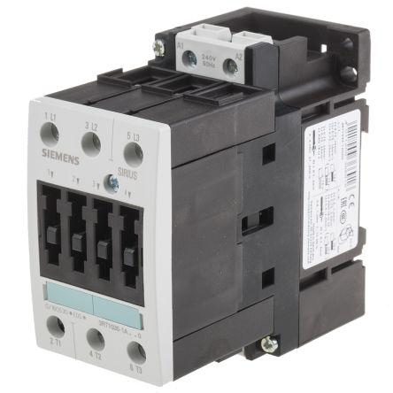 3RT1035-1AU00                                              Siemens Sirius Classic 3RT1 3 Pole Contactor, 3NO, 40 A (AC3), 18.5 kW (AC3), 240 V ac Coil