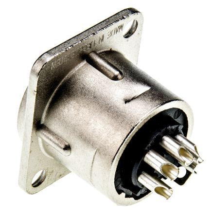 Female to Female Gold over Nickel Plat Neutrik 6 Way Panel Mount XLR Connector