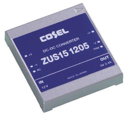 ZUS151205                                              Cosel Through Hole 12W Isolated DC-DC Converter, Vin 9 → 18 V dc, I/O isolation 500V ac, Vout 5V dc
