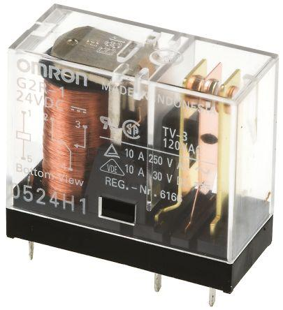 Omron SPDT PCB Mount Non-Latching Relay, 24V dc Coil