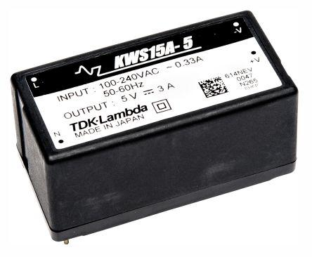 KWS-15A-12                                              TDK-Lambda 15.6W Embedded Switch Mode Power Supply SMPS, 1.3A, 12V dc