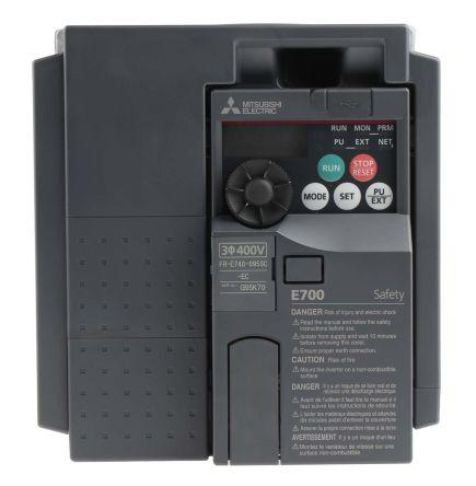 FR-E740-095SC-EC                                              Mitsubishi FR-E740 Inverter Drive 3.7 kW, 3-Phase In, 380 → 480 V ac, 9.5 A, 0.2 → 400Hz Out