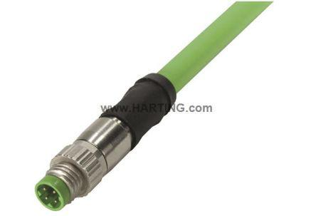 2134C700477075                                              Harting Circular Connectors M8 Series, Industrial Automation Cable Assembly with a 4 Pole Straight Male M8 Male
