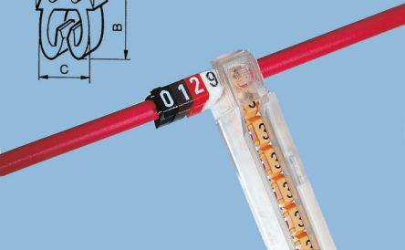Legrand Clip On Cable Marker, Pre-printed 9 White 2.8 → 3.8mm Dia. Range