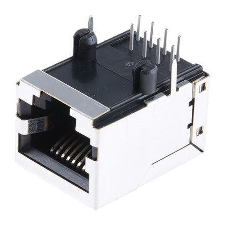 RS Pro Cat5 8 Way Right Angle PCB Mount Unshielded RJ45 Connector Female