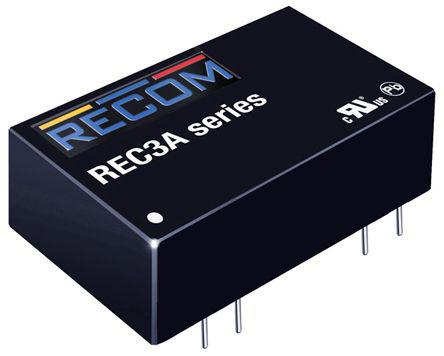 REC3A-0505SW/H2/X1                                              Recom REC3A 3W Isolated DC-DC Converter Through Hole, Vin 4.5 → 9 V dc, Vout 5V dc, I/O isolation 2kV dc