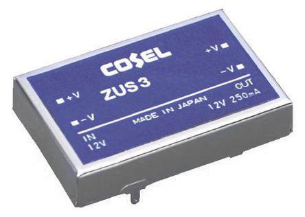 ZUS34812                                              Cosel 3W Isolated DC-DC Converter Through Hole, Vin 36 → 72 V dc, Vout 12V dc, I/O isolation 500V ac