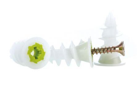 TWIST25                                              GripIt Fixings Green, White Metal, Nylon Self Driving Cavity Fixing with 3mm fixing hole diameter