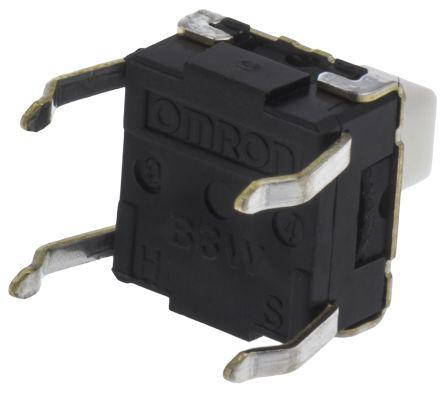 Plunger Tact Switch, SPST-NO 50 mA @ 24 V dc 3.9mm