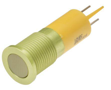 111-6559                                              Indicator RS Pro Yellow, IP67, 12 V dc, 14mm Mounting Hole Size, Faston, Solder Lug Termination