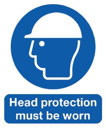 Signs & Labels PP Mandatory Head Protection Sign with English Text, 210 x 148mm